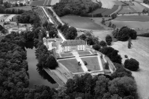 An aerial shot of Chateau de Bonaban. Lake in the foreground of this ancient, walled site was described by several early Breton historians as the place St Patrick called 'Bannavem Tiburniae' in Latin, where his father Calpurnius owned an estate from where St Patrick was taken captive when he was sixteen years of age.