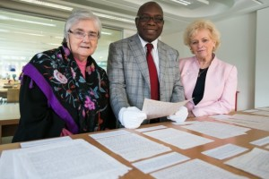 Sr Majella McCarron OLA with Dr Owens Wiwa, brother of Ken Saro-Wiwa and Baroness Nuala O'Loan, Chair of the NUIM's Governing Authority (Image: Keith Arkins).