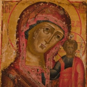 Icon of the Mother of God from Kazan, Russia which Glenstal Abbey has given Dr Mary Francis McKenna permission to illustrate her book with.