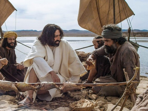 Jesus explaining things to the apostles after his resurrecion.