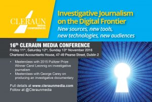 Investigative Journalism on the Digital Frontier  — New Sources, New Tools, New Technologies, New Audiences @ Chartered Accountants House | Dublin | County Dublin | Ireland