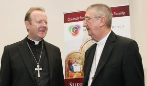 Archbishops Eamon Martin Archbishop of Armagh with Diarmuid Martin, President and host of World Meeting of Families 2018 in Dublin. Pic John Mc Elroy.