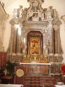 Church of San Pancrazio, Taormina. The altar, which contains a statue of Saint Pancras.