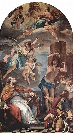 The Virgin Mary in Glory with Archangel Gabriel, and Saints Eusebius of Vercelli (seated), Saint Sebastian, and Saint Roch, Sebastiano Ricci.