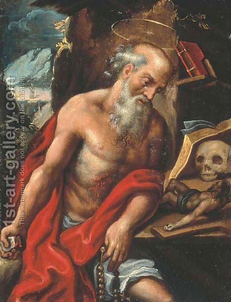 Jerome praying, doing penance, and writing