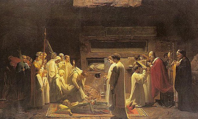 A solemn burial of an early Christian