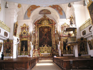 The glorious interior of st Walburga's convent church in Eichstätt, next to her tomb