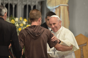 Pope Francis visits the St Francis of Assisi of the Providence of God Hospital in Rio de Janeiro.