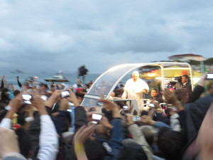 cinews wyd Msc Pope Francis passing by