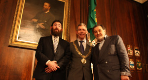Rabbi Zalman Lent, Alderman Andrew Montague and Maurice Cohen, Chairman of the Jewish Representative Council of Ireland.