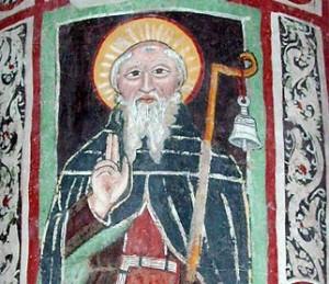 St Columban fresco in Bobbio, Italy