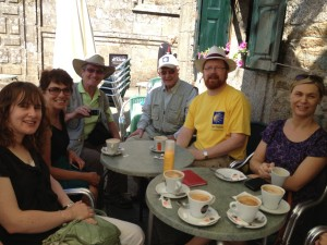 Fr Alan Neville and friends take time out for a coffee along the Camino
