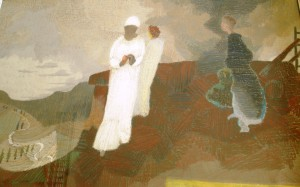 'The three Marys afar off' by Patrick Pye, pastels, 1973, based on Matthew 27:55