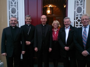 Archbishop Charles Brown, Papal Nuncio to Ireland, visits Wexford and preaches at the annual Festival Mass in Rowe Street Church. He is photographed with Parish Administrator Fr  Jim Fegan, Bishop of Ferns, Dr Denis Brennan, Mrs Eileen McKiernan, County Manager, Mr Adrian Doyle and Dr Paddy McKiernan.