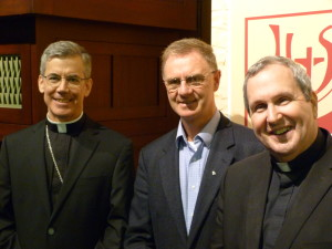 The Papal Nuncio, Archbishop Charles Brown, Jesuit chaplain in UCD, Fr Leon Ó Giolláin SJ and Rev Dr Robert Spitzer, SJ.