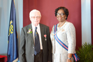 Brother De Lellis Sullivan with Dame Pearlette Louisy, Governor General, St Lucia.