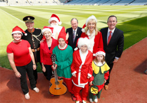 Miriam O'Callaghan, Sr Stanislaus Kennedy, and others at the launch of Stars, Choirs & Carols @ Croke Park