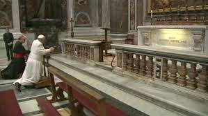 Bishop Francis of Rome prays in his parish Church, the Lateran Basilica
