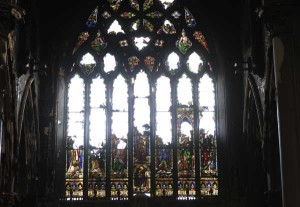 Stained glass window of St Catherine's church in Dublin which was destroyed in the fire of 2 January 2012.