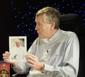 Bishop Denis Nulty with the portrait photo of Pope Francis which is to be sent to all parishes in Kildare & Leighlin for Christmas.