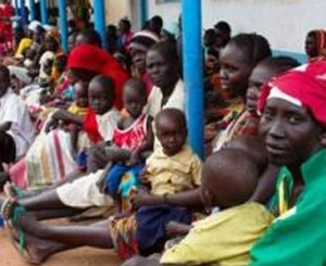 People waiting for treatment at the Marial Bail  Primary Health Care Centre, Aweil West