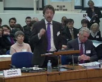 Louise O'Keeffe behind her lawyer at the ECHR