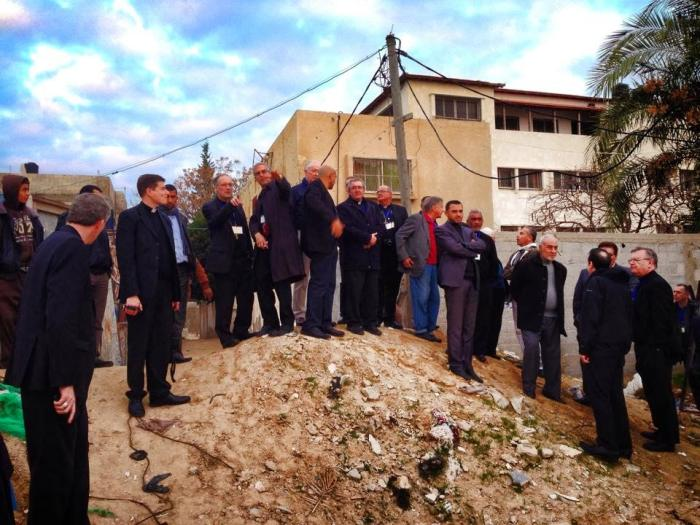 Bishop representatives of the Episcopal Conferences of various parts of the world at the Gaza Strip, January 2014