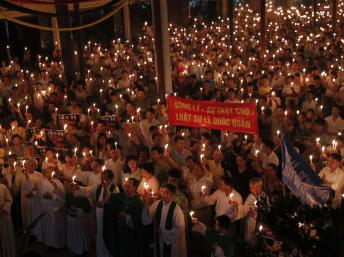 Vigil for Le Quoc Quan in Hanoi.