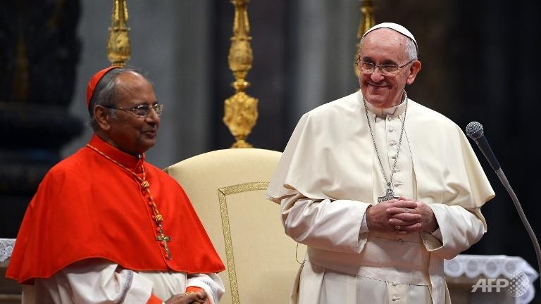 Pope Francis and Cardinal Albert Malcolm Ranjith Patabendige of Colombo.