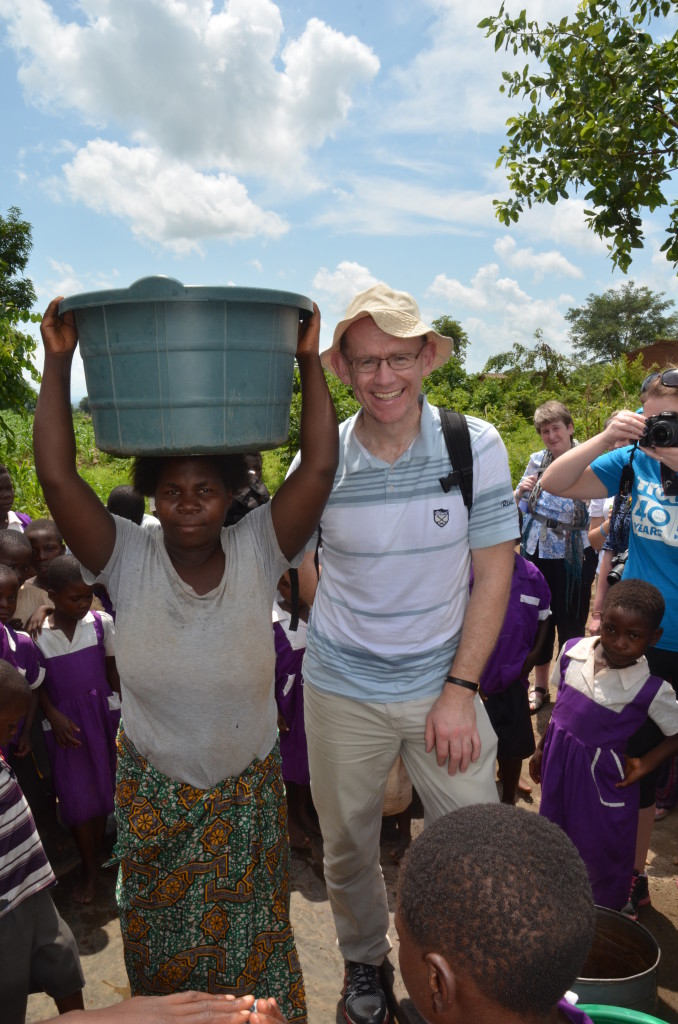 Fr Fintan at the bore hole in Dedza Diocese.