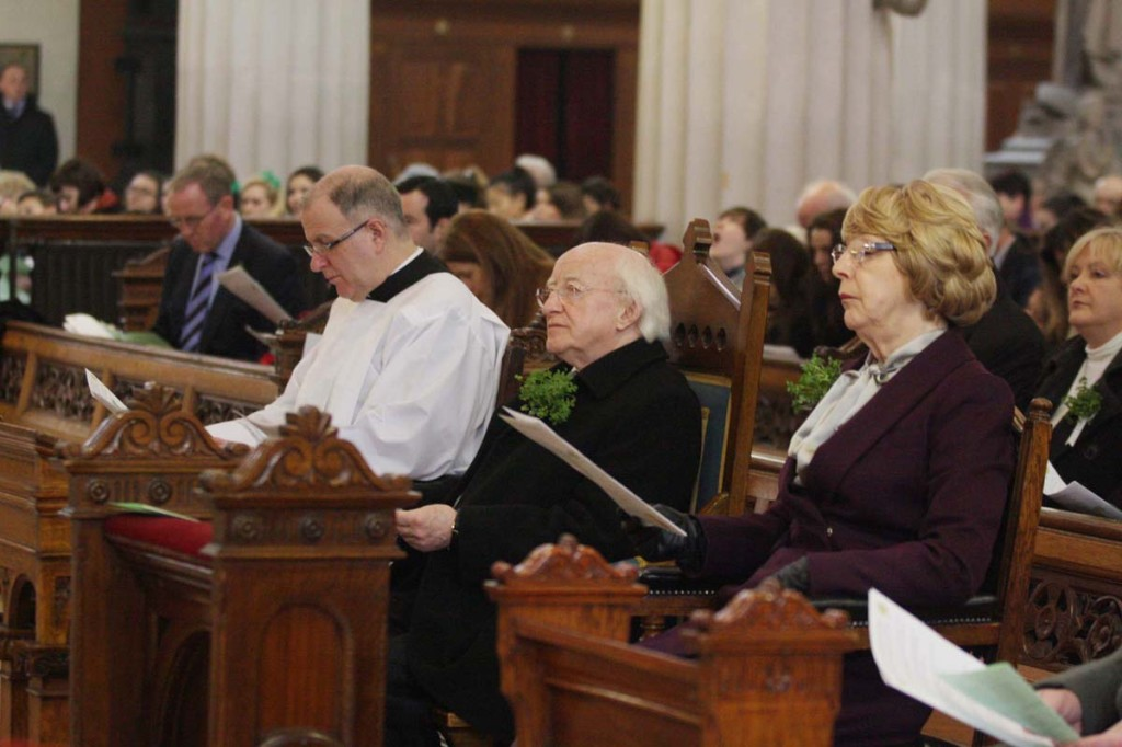 Mass for St Patrick's Day with President Michael D Higgins and Mrs Sabina Higgins at the Pro Cathedral in Dublin.