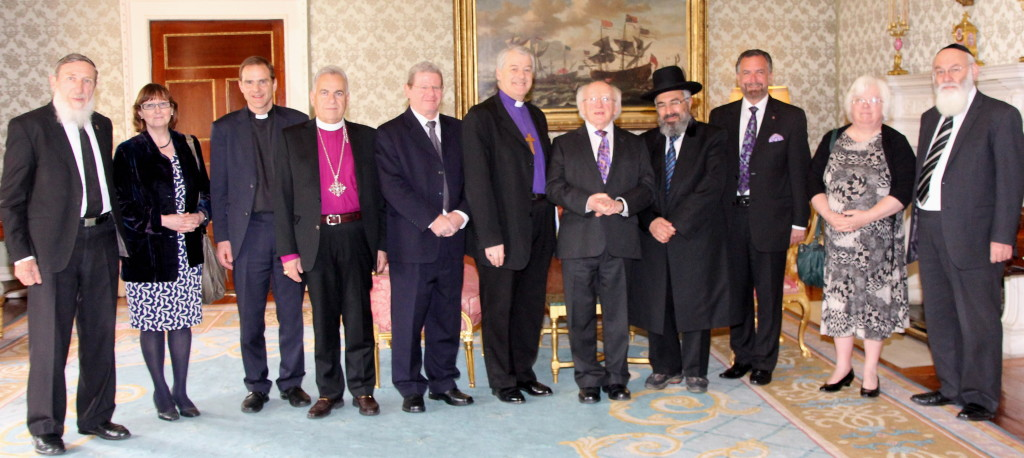 Professor Rabbi Daniel Sperber, Jerusalem; Dr Jane Clements, UK; the Revd Canon Dr Toby Howarth, UK, Secretary for Inter Religious Affairs to the Archbishop of Canterbury; Bishop Suheil Dawani, Jerusalem; Mr Oded Wiener, Director General of the Chief Rabbinate of Israel; the Archbishop of Dublin, the Most Revd Dr Michael Jackson, co-chair of the Anglican Jewish Commission; President Michael D Higgins; Rabbi Rasson Arousi, Chief Rabbi of Kiryat Ono and Acting co-Chair of the Anglican-Jewish Commission; Rabbi David Rosen, Jerusalem (a former Chief Rabbi of Ireland); Dr Clare Amos, Geneva/UK; and Professor Avraham Steinberg, Jerusalem.