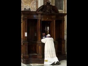 Pope Francis goes to Confession.
