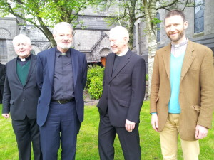 Bishop Christopher Jones, Bishop-elect Kevin Doran, Rev Alan Mitchell of the Presbyterian Church  and Canon Patrick Bamber of the Church of Ireland.