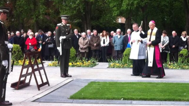 Bishop Eamonn Walsh  at 1916 commemoration in Arbor Hill. Pic courtesy of RTE.
