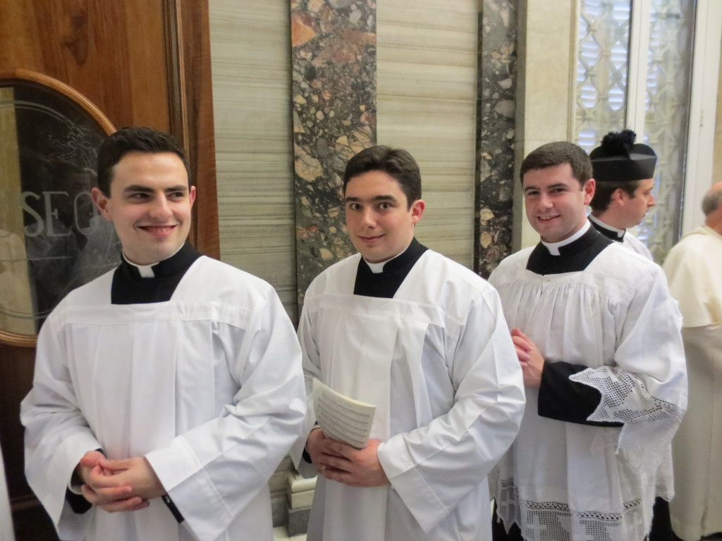 Irish seminarians queuing for Sunday Vespers in St Peter's Basilica: David Vard (Kildare & Leighlin), Robert Smyth (Dublin) and Fr Damien Lynch (Cloyne).