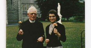 Jacqueline Bouvier and Fr Joseph Leonard in All Hallows in 1950. Pic: Irish Times