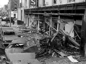 Talbot Street after the bomb attack - one of four no warning bombings in Dublin and Monaghan..