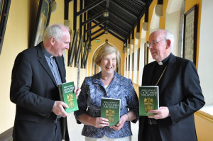 Bishop Brendan Leahy, Maura Hyland of Veritas and Cardinal Sean Brady.