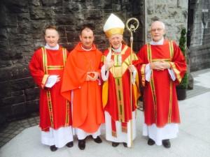 Rev Seán O'Donnell, Deacon, Derry Diocese, Fr Seán Flynn, newly ordained, Archbishop Michael Neary, Rev Seán McGuigan, Deacon, Armagh Diocese.