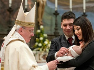 Pope Francis with couple,babyjpg