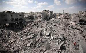 Al Shujaiya neighborhood in Gaza  which was destroyed by Israeli air-land attacks.