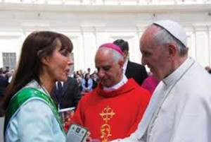 Catherine Wiley with Pope Francis.