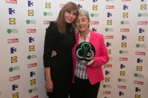 British TV star Carol Vorderman and Sr Helen Culhane, Director of the Children's Grief Project in Limerick