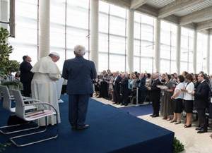 Pope Francis at the Pentecostal church in Caserta