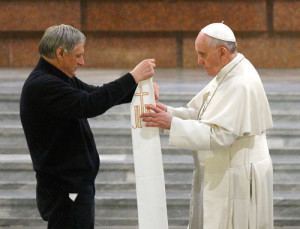 Pope Francis receives a stole that belonged to Fr Giuseppe Diana, who was killed by the mafia, from Fr Luigi Ciotti. Pic courtesy: www.thecompassnews.org