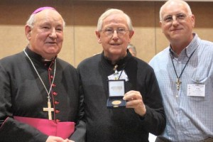 Fr Vincent Mulligan OMI with Bishop Ray Field and Fr Ray Warren OMI. Photo courtesy: Irish Independent