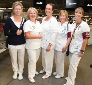 Nurses Tara Curran, Ann Breen, Alice Griffin, Erica Keogan and Helen Dunnebarron preparing to leave Dublin airport on Sunday morning on the Dublin Diocesan pilgrimage to Lourdes. Pic John McElroy.