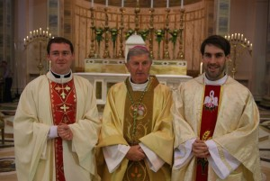 Fr Ciaran Clarke (right) with Bishop Michael Smith and Fr Declan Kelly, also from the Diocese of Meath who was ordained a priest last Sunday.  Fr Clarke was ordained on Sunday at the Cathedral of Christ the King, Mullingar.  It is the second ordination in Meath diocese this month.