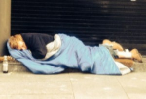 blurred homeless man